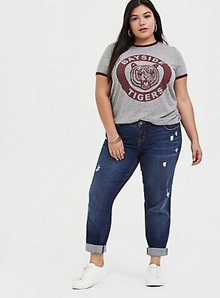 Plus Size Saved By the Bell Bayside Tigers Heathered Grey Ringer Tee, MEDIUM HEATHER GREY, alternate