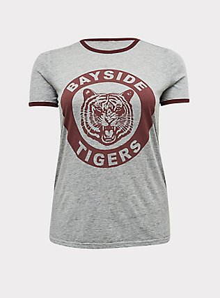 Plus Size Saved By the Bell Bayside Tigers Heathered Grey Ringer Tee, MEDIUM HEATHER GREY, flat
