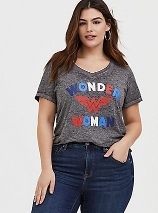Plus Size DC Wonder Woman Grey Burnout V-Neck Tee, MEDIUM HEATHER GREY, hi-res