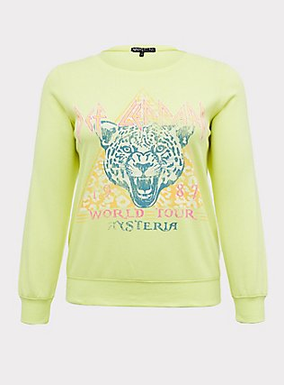 Plus Size Def Leppard World Tour Neon Yellow Fleece Sweatshirt , NEON YELLOW, flat