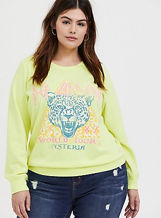 Plus Size Def Leppard World Tour Neon Yellow Fleece Sweatshirt , NEON YELLOW, hi-res