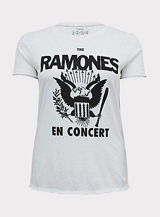 The Ramones En Concert White Crew Tee, CLOUD DANCER, flat