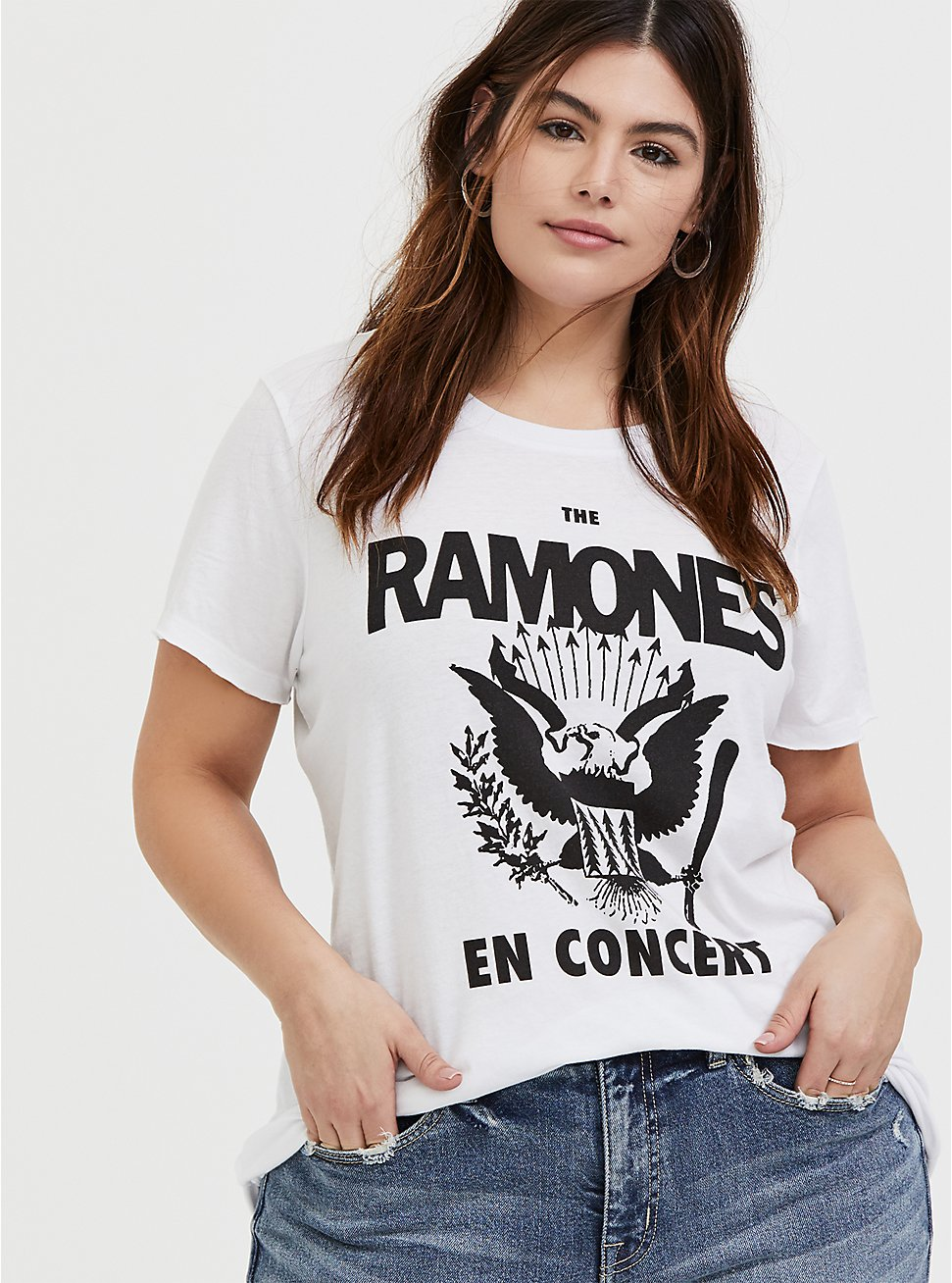 The Ramones En Concert White Crew Tee, CLOUD DANCER, hi-res