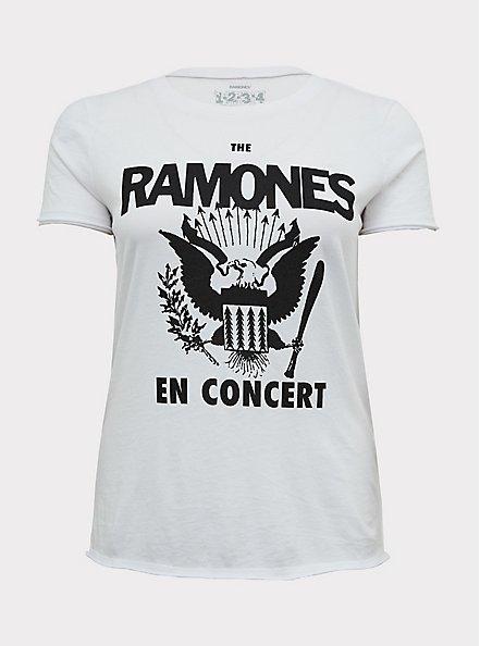Plus Size The Ramones En Concert White Crew Tee, CLOUD DANCER, hi-res