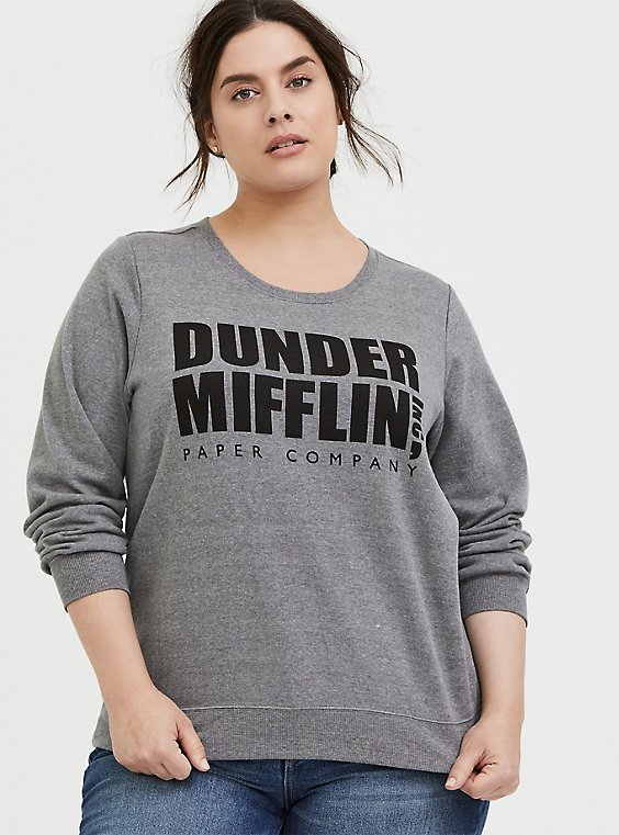 The Office Dunder Mifflin Grey Fleece Sweatshirt , , hi-res