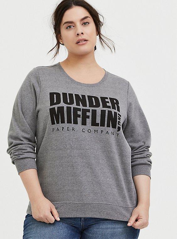 Plus Size The Office Dunder Mifflin Grey Fleece Sweatshirt , , hi-res