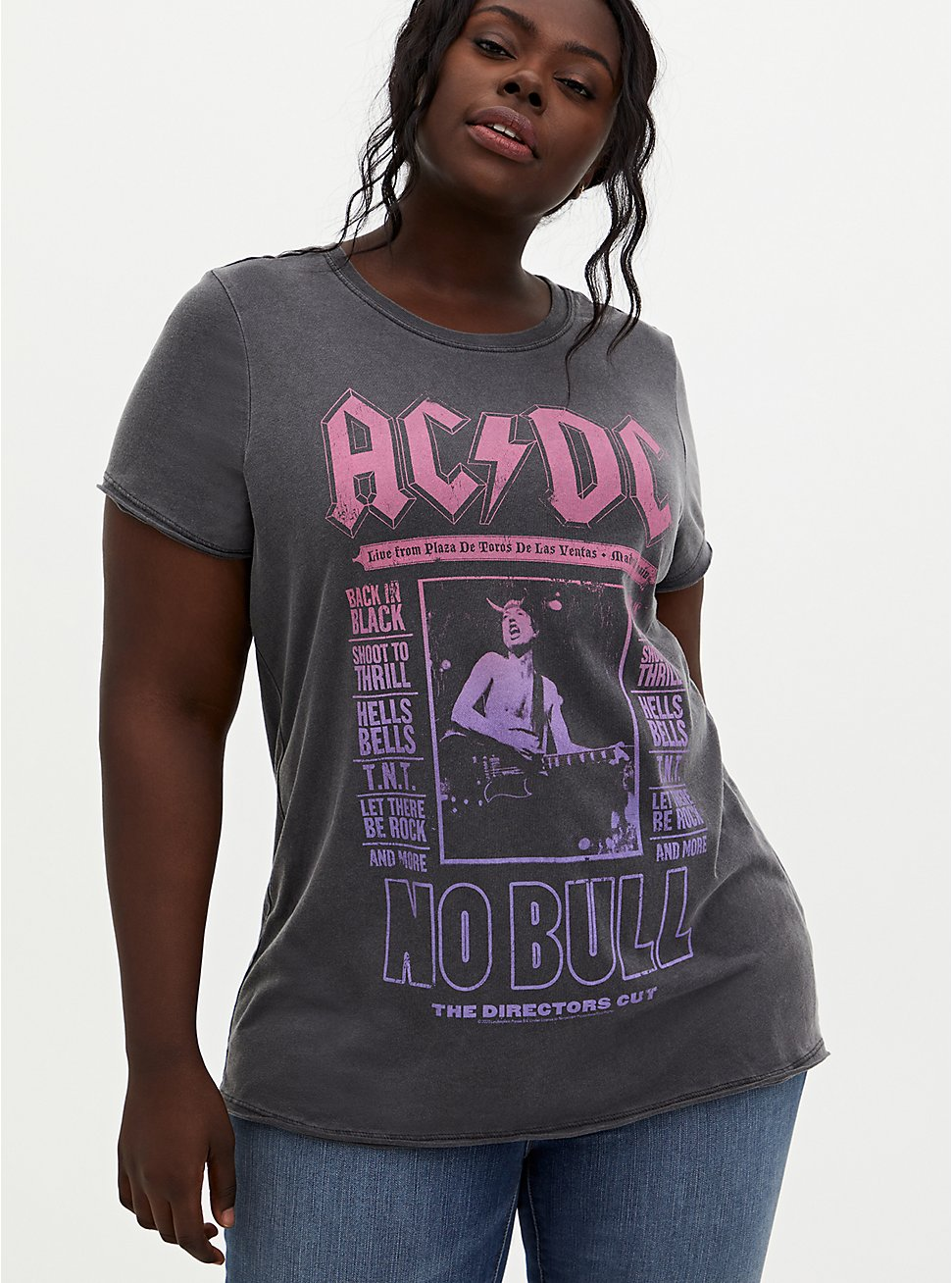 AC/DC Washed Black Crew Tee, DEEP BLACK, hi-res