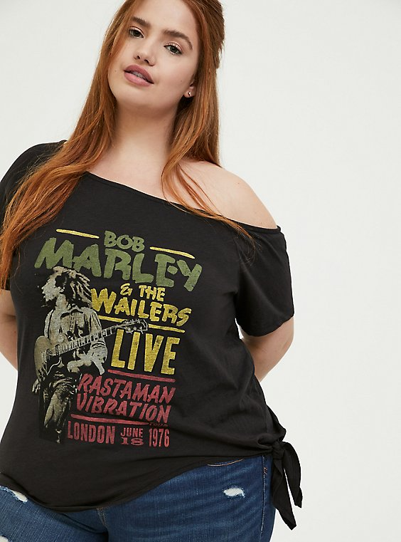 Bob Marley Black Tie Front Off Shoulder Tee, , hi-res