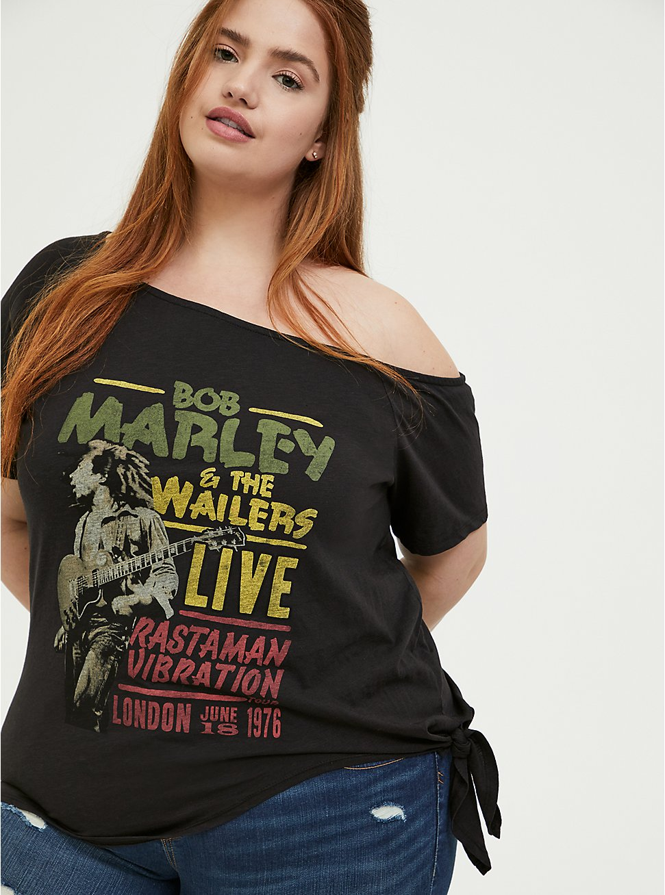 Bob Marley Black Tie Front Off Shoulder Tee, DEEP BLACK, hi-res