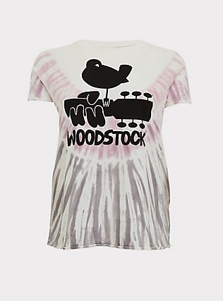 Woodstock White & Purple Tie Dye Crew Tee, CLOUD DANCER, flat