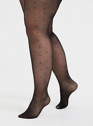 Plus Size Black Polka Dot Semi-Opaque Tights, BLACK, hi-res