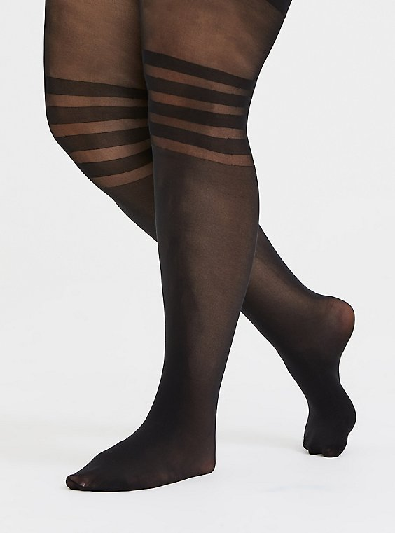 Plus Size Black Semi-Opaque Stripe Tights, , hi-res