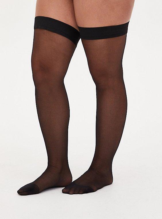 Black Thigh-High Opaque Tights , , hi-res