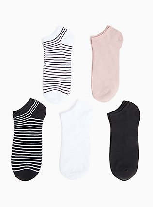 Plus Size Stripe & Solid Socks Pack - Pack of 5, MULTI, alternate