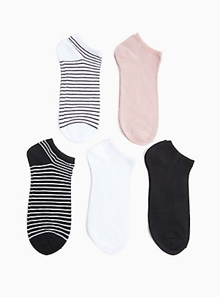 Plus Size Stripe & Solid Socks Pack - Pack of 5, MULTI, hi-res
