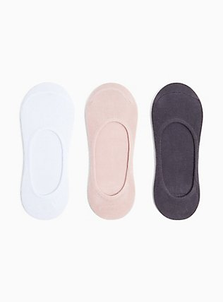 Plus Size Blush Pink Pack No Show Socks - Pack of 3, WHITE  HEATHER GREY, hi-res