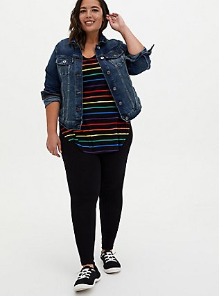 Super Soft Black & Rainbow Stripe Favorite Tunic Tee, STRIPES, alternate