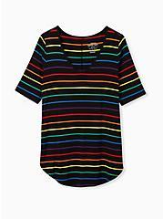 Celebrate Love Favorite Tunic Tee - Super Soft Stripe Rainbow, STRIPES, hi-res