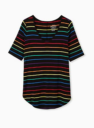 Super Soft Black & Rainbow Stripe Favorite Tunic Tee, STRIPES, flat