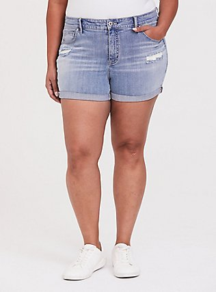 High Rise Short Short - Vintage Stretch Light Wash, DREAM ON, hi-res