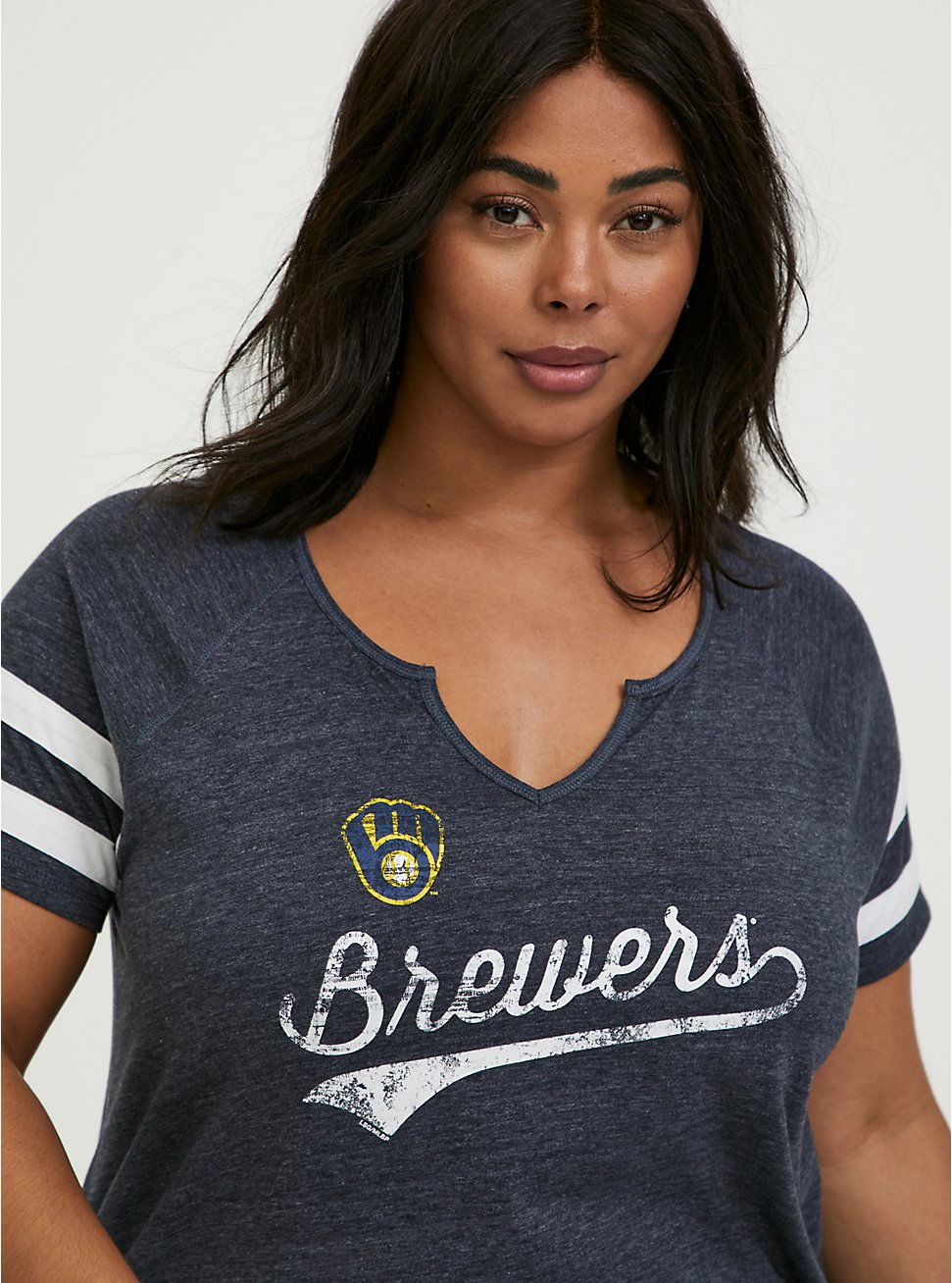 MLB Milwaukee Brewers Navy Triblend Tee, PEACOAT, hi-res