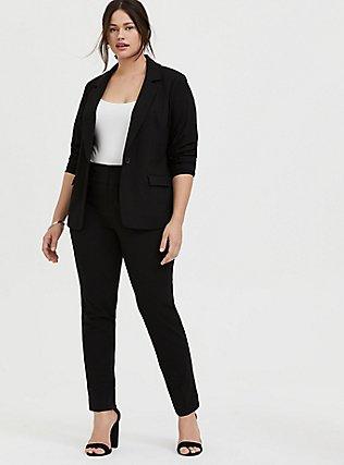 Black Structured Twill Blazer, DEEP BLACK, alternate