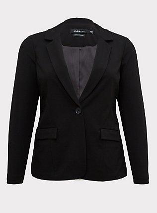 Black Structured Twill Blazer, DEEP BLACK, flat