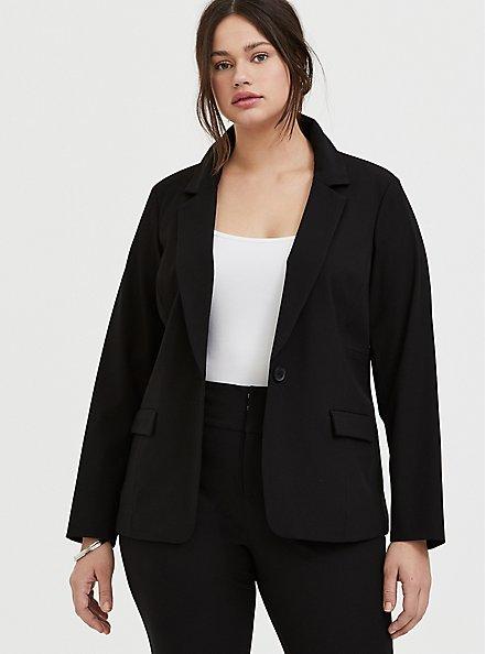 Black Structured Twill Blazer, DEEP BLACK, hi-res