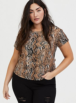 Plus Size Snakeskin Print Rib Crop Crew Tee, REPTILE - TAN, alternate