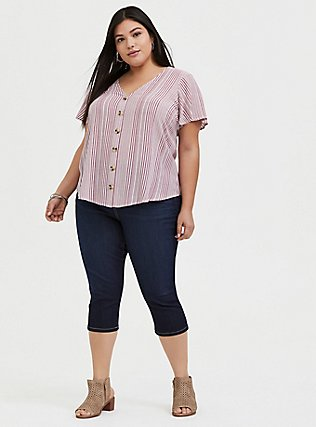 Plus Size Red Wine Stripe Button Front Midi Top, STRIPES, alternate