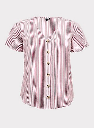 Plus Size Red Wine Stripe Button Front Midi Top, STRIPES, flat