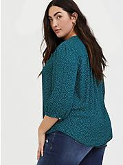 Dark Teal Polka Dot Georgette Pussycat Bow Blouse, DOTS - GREEN, alternate