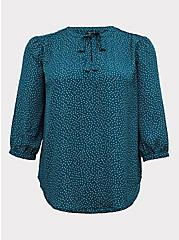Dark Teal Polka Dot Georgette Pussycat Bow Blouse, DOTS - GREEN, hi-res