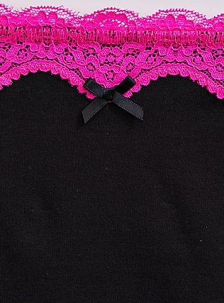 Black & Neon Pink Cotton Cheeky Panty, RICH BLACK, alternate