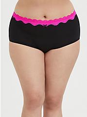Black & Neon Pink Cotton Brief Panty, RICH BLACK, hi-res
