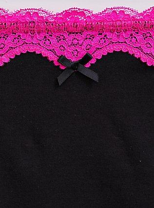 Plus Size Black & Pink Cotton Thong Panty, RICH BLACK, alternate