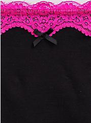 Black & Neon Pink Cotton High Waist Panty, RICH BLACK, alternate