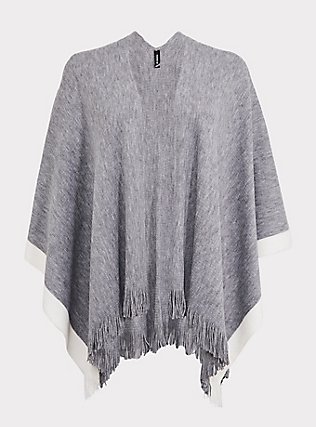 Light Grey & White Contrast Fringe Ruana, , flat