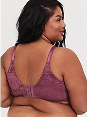 Plus Size Mauve Purple Lace 360° Back Smoothing™ Corset Push-Up Plunge Bra, DRIED CRANBERRY BURGUNDY, alternate