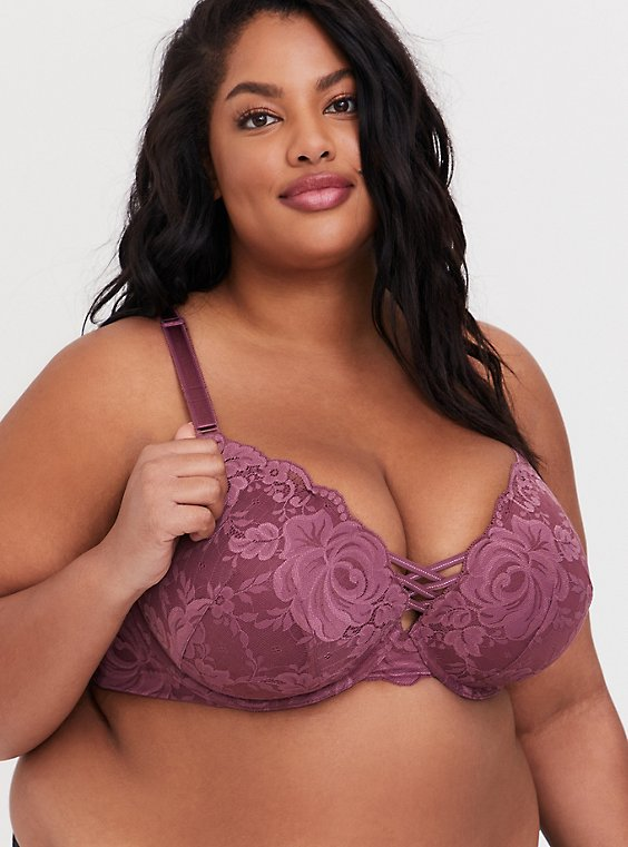 Plus Size Mauve Purple Lace 360° Back Smoothing™ Corset Push-Up Plunge Bra, , hi-res