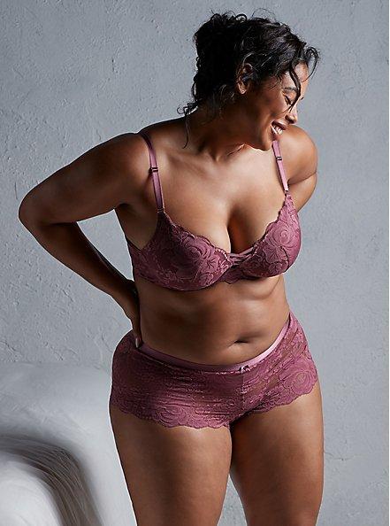 Mauve Purple Lace 360° Back Smoothing™ XO Push-Up Plunge Bra, DRIED CRANBERRY BURGUNDY, hi-res