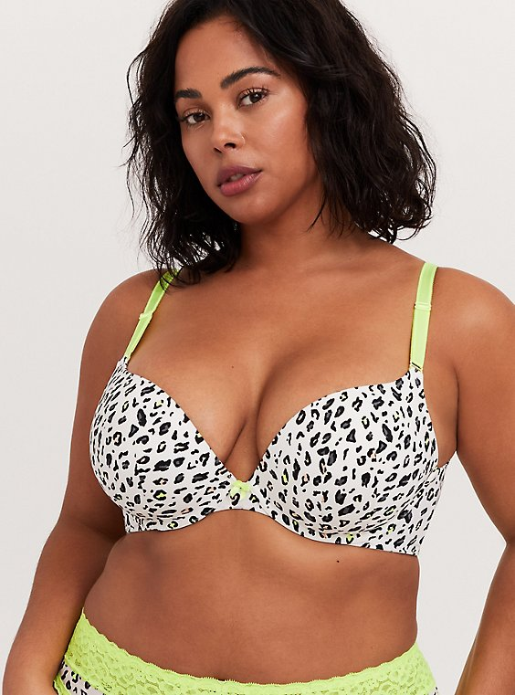 Plus Size White Leopard & Neon Yellow 360° Back Smoothing™ Push-Up Plunge Bra, , hi-res