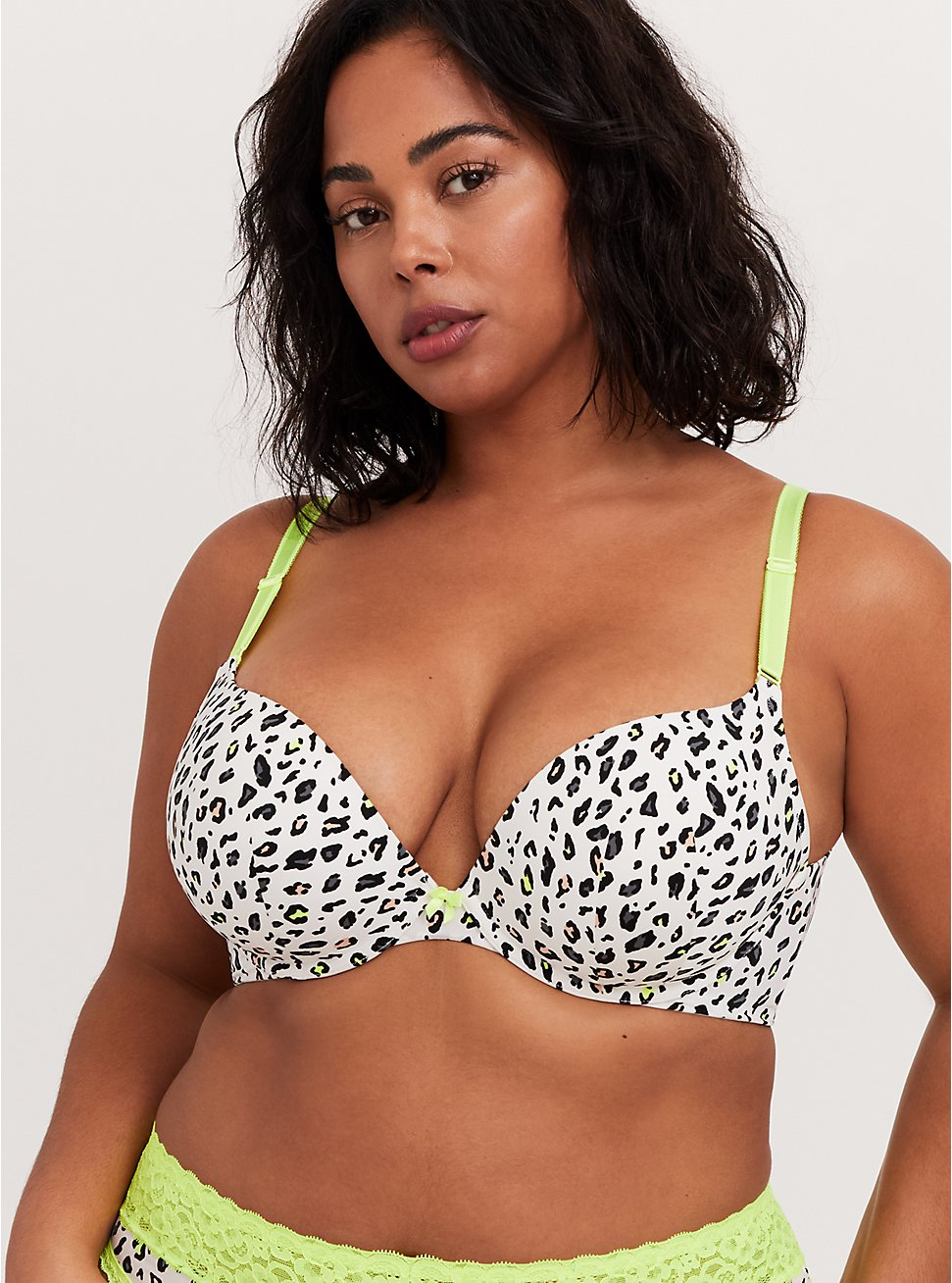 White Leopard & Neon Yellow 360° Back Smoothing™ Push-Up Plunge Bra, LEOPARD, hi-res