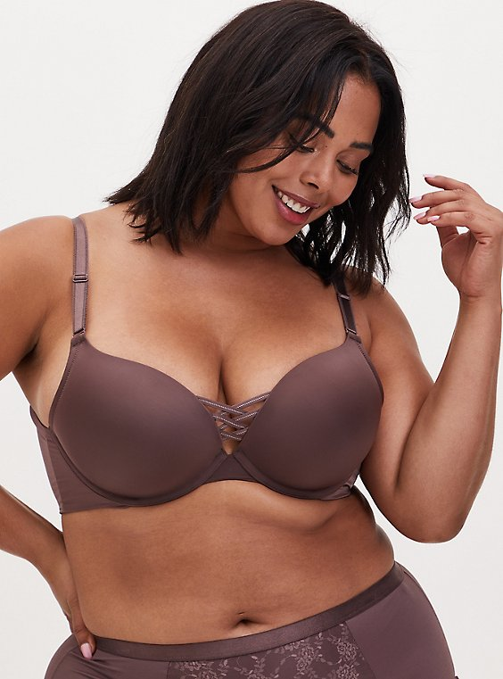 Plus Size Brown 360° Back Smoothing™ XO Push-Up Plunge Bra, , hi-res