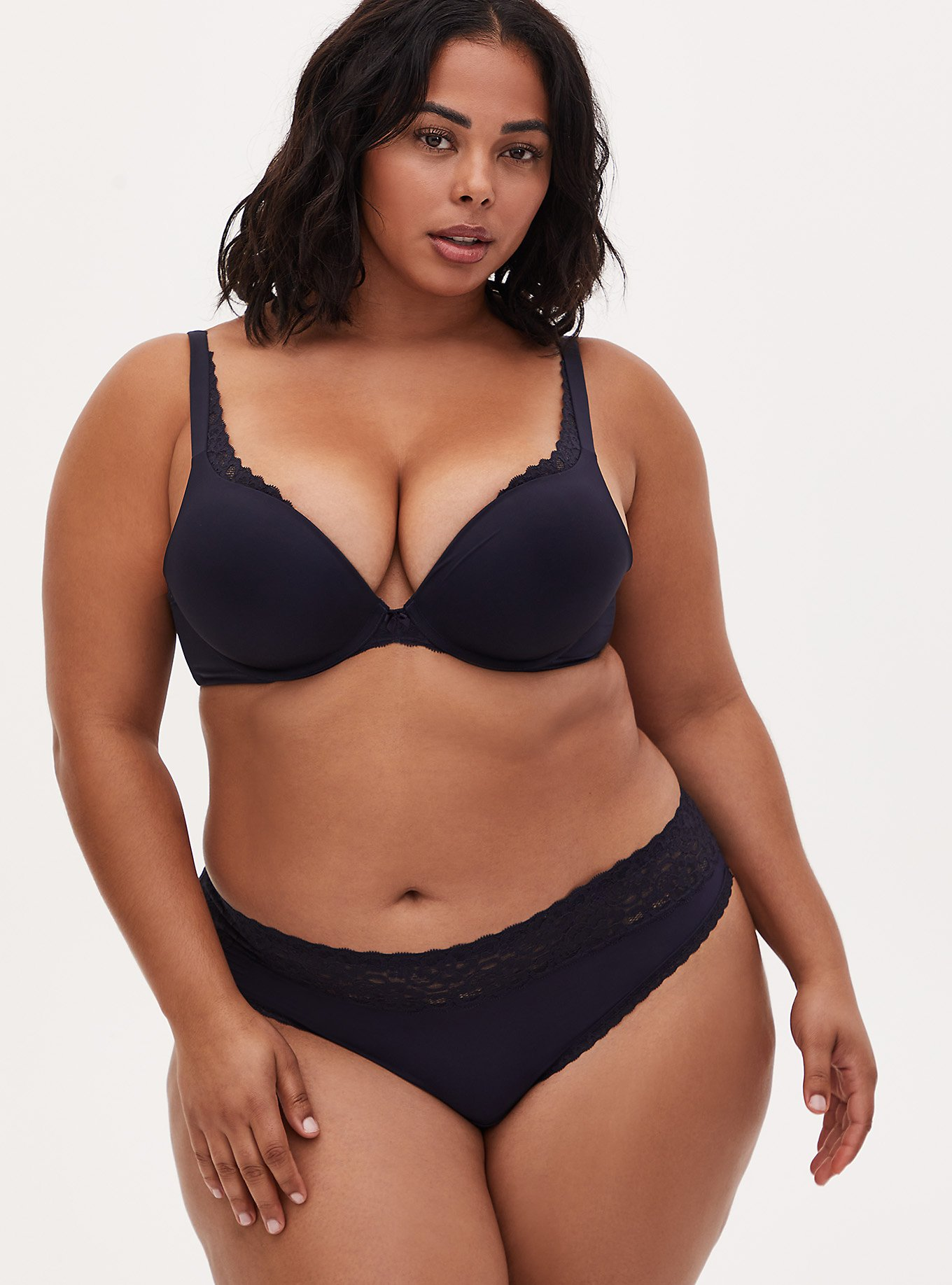 Plus Size Midnight Blue Push-Up Plunge Bra and Thong Panty, , hi-res
