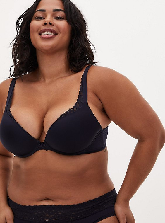 Midnight Blue Microfiber Push-Up Plunge Bra, , hi-res