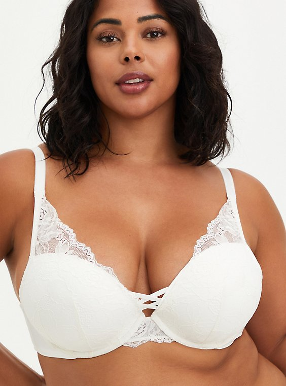 Plus Size Ivory Lace Corset Push-Up Plunge Bra, , hi-res