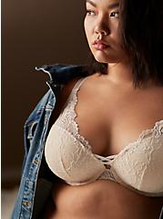 Plus Size Ivory Lace Corset Push-Up Plunge Bra, CLOUD DANCER, hi-res