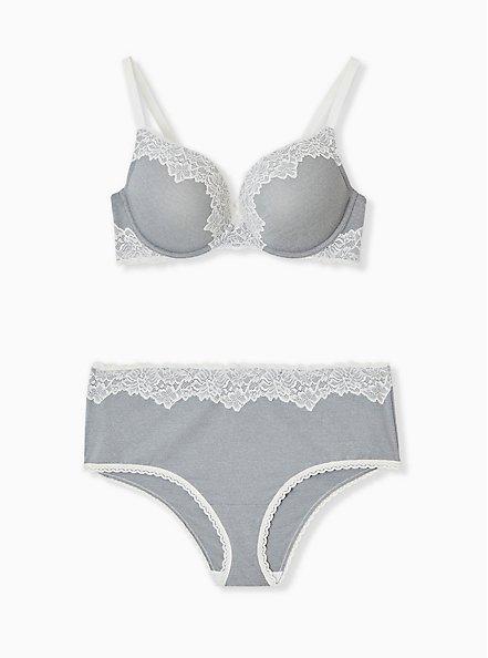 Light Heather Grey Microfiber & Ivory Lace Corset Push-Up Plunge Bra , LIGHT GREY, alternate