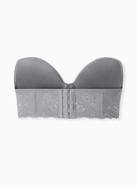 Plus Size Grey Microfiber & Lace Lightly Lined Multiway Strapless Bra, SILVER FILAGREE, alternate
